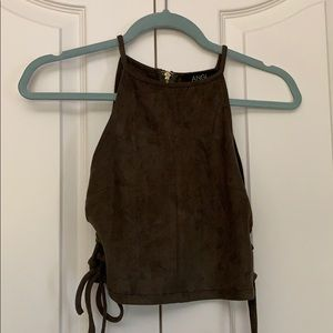 NWOT ANGL Olive Crop Top Size S